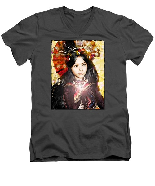 Men's V-Neck T-Shirt featuring the painting Our Lady Of China by Suzanne Silvir