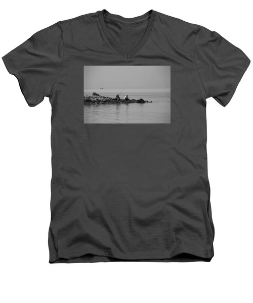 Men's V-Neck T-Shirt featuring the photograph Our Quiet Chats About Life by Jez C Self