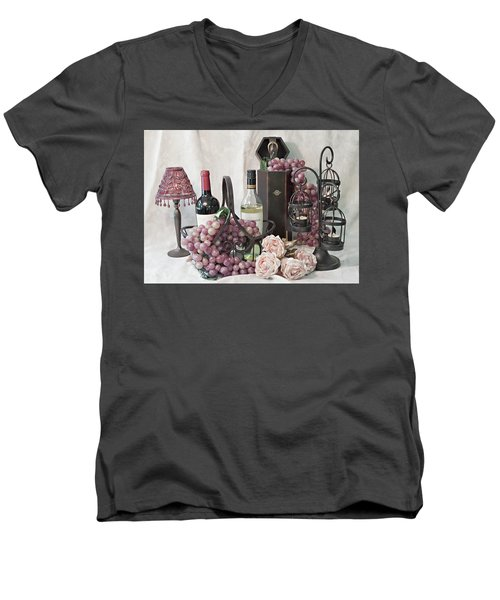 Men's V-Neck T-Shirt featuring the photograph Our Wine Cellar by Sherry Hallemeier
