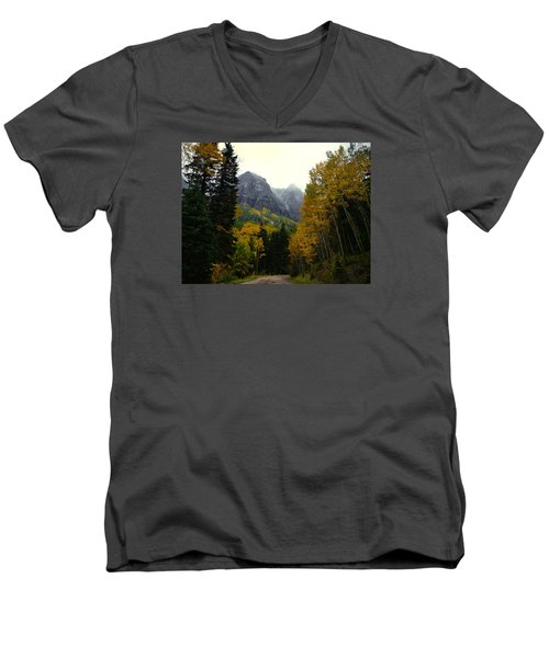 Men's V-Neck T-Shirt featuring the photograph Ouray Side Trip by Laura Ragland