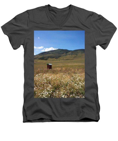 Men's V-Neck T-Shirt featuring the photograph Out House by Mary-Lee Sanders