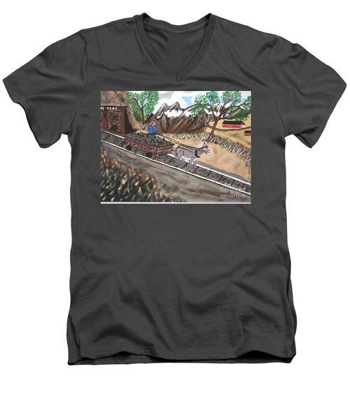 Men's V-Neck T-Shirt featuring the painting Out Of The Dark And Into The Blue Coal Mine by Jeffrey Koss