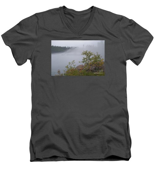 Men's V-Neck T-Shirt featuring the photograph Out Of The Fog by Sandra Updyke