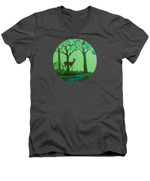 Out Of The Forest Men's V-Neck T-Shirt by Mary Wolf