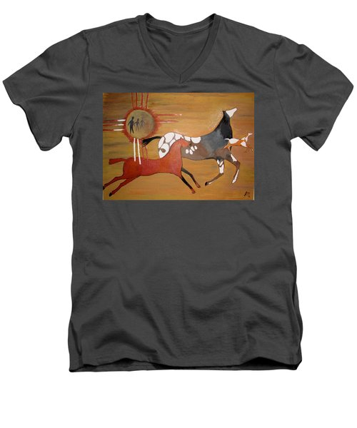 Men's V-Neck T-Shirt featuring the painting Out Of The Past by Stephanie Moore
