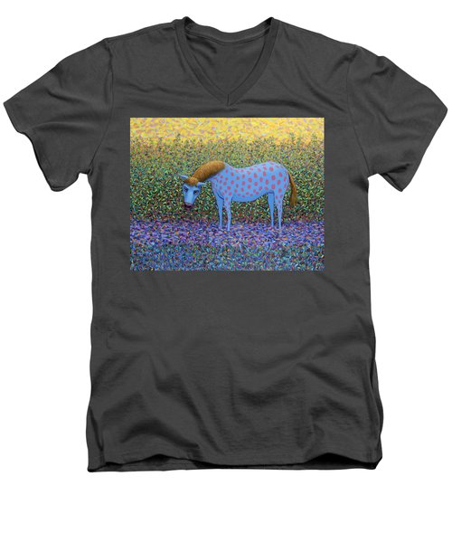 Men's V-Neck T-Shirt featuring the painting Out Of The Pasture by James W Johnson