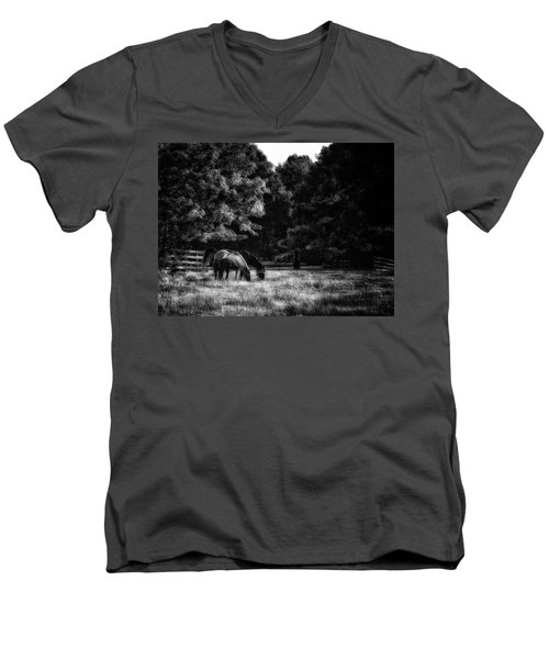 Out To Pasture Bw Men's V-Neck T-Shirt by Mark Fuller