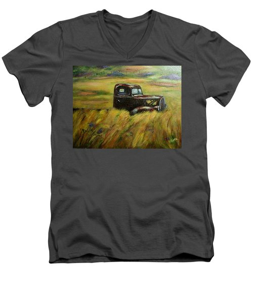 Out To Pasture Men's V-Neck T-Shirt by Gail Kirtz