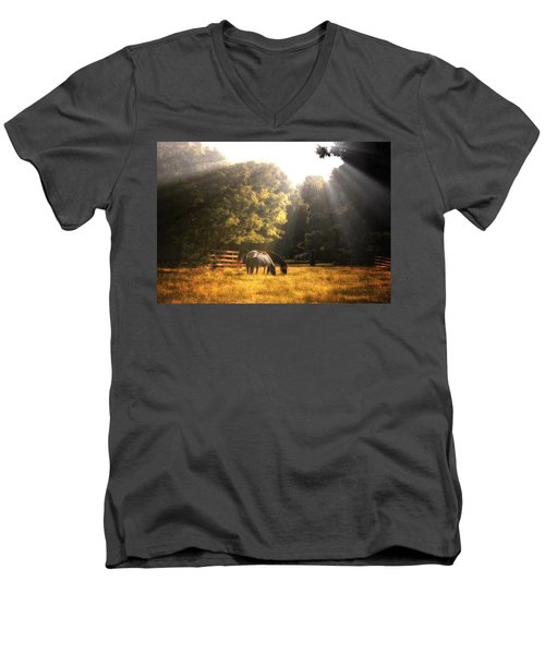 Out To Pasture Men's V-Neck T-Shirt by Mark Fuller