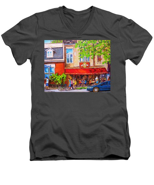 Men's V-Neck T-Shirt featuring the painting Outdoor Cafe by Carole Spandau