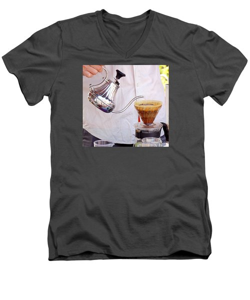 Outdoor Vendor Makes Coffee Men's V-Neck T-Shirt by Yali Shi
