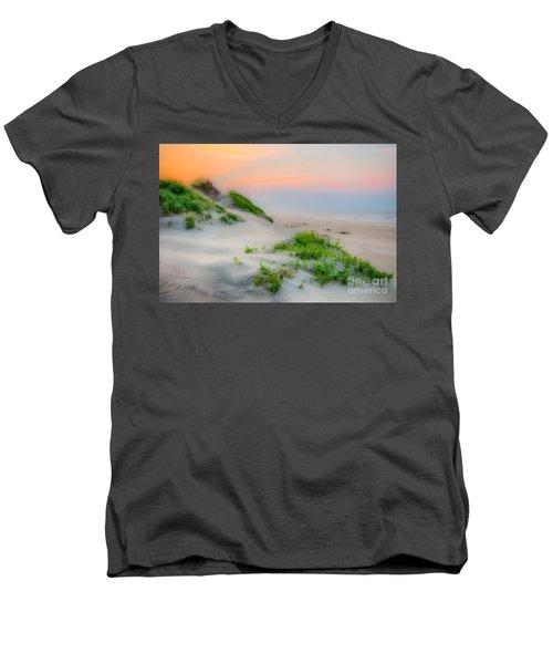 Outer Banks Soft Dune Sunrise Men's V-Neck T-Shirt by Dan Carmichael