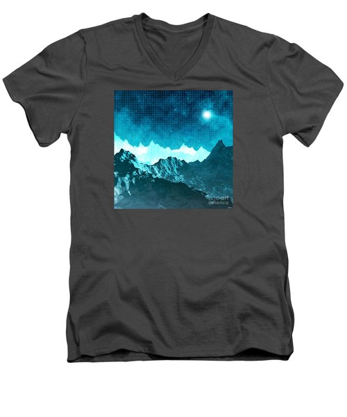 Men's V-Neck T-Shirt featuring the digital art Outer Space Mountains by Phil Perkins