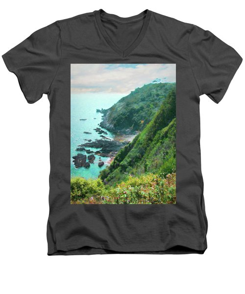 Men's V-Neck T-Shirt featuring the photograph South End Of Guernsey by Bellesouth Studio