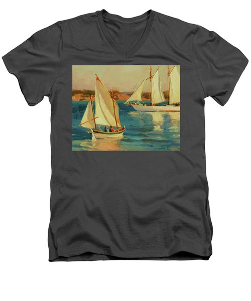Men's V-Neck T-Shirt featuring the painting Outing by Steve Henderson