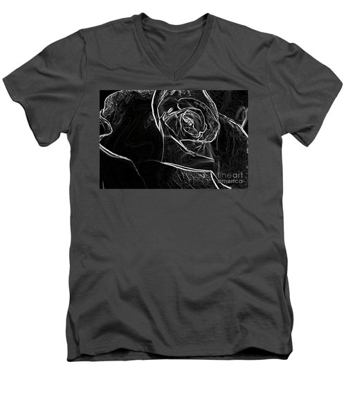Men's V-Neck T-Shirt featuring the photograph Outline Of A Rose by Micah May