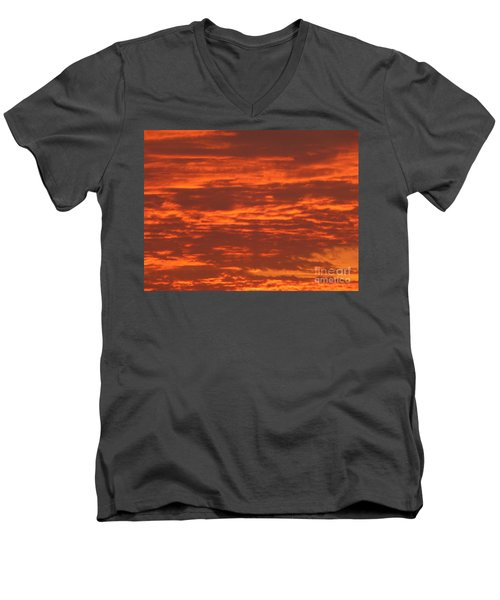 Men's V-Neck T-Shirt featuring the photograph Outrageous Orange Sunrise by Rockin Docks Deluxephotos