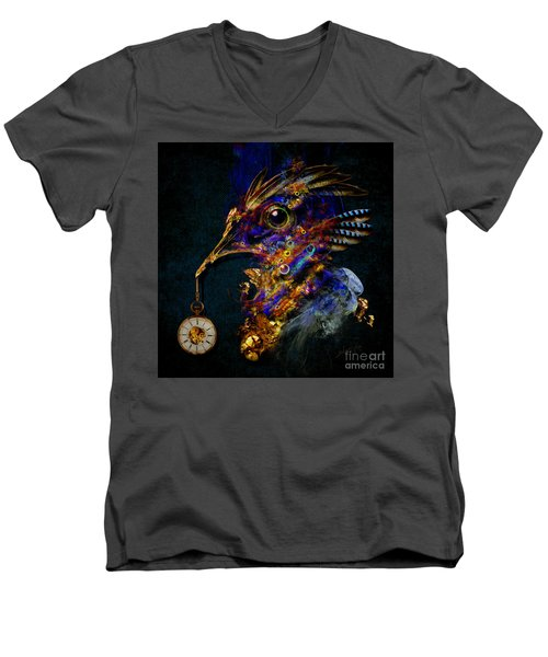 Men's V-Neck T-Shirt featuring the painting Outside Of Time by Alexa Szlavics
