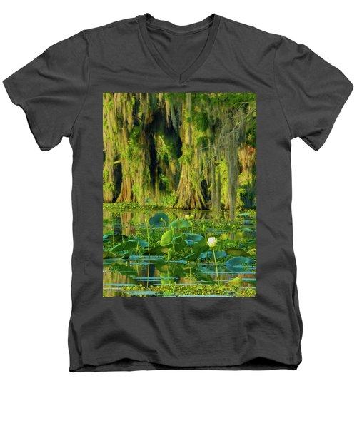 Outstanding Lotus Men's V-Neck T-Shirt by Kimo Fernandez