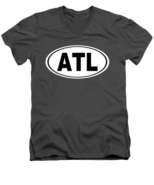 Men's V-Neck T-Shirt featuring the photograph Oval Atl Atlanta Georgia Home Pride by Keith Webber Jr
