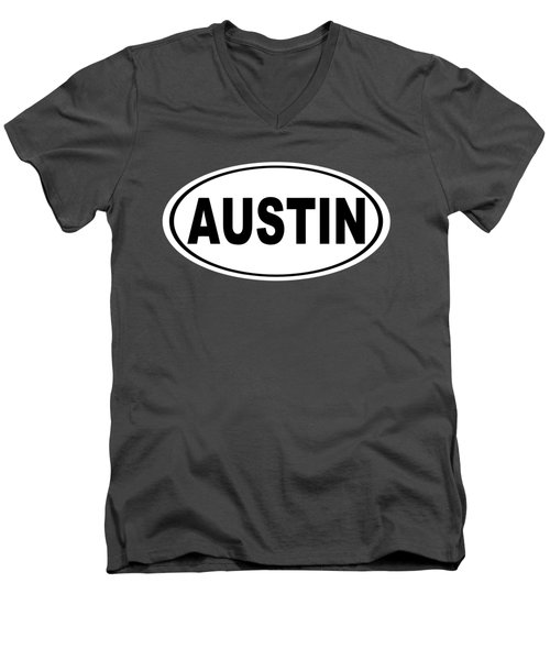 Men's V-Neck T-Shirt featuring the photograph Oval Austin Texas Home Pride by Keith Webber Jr