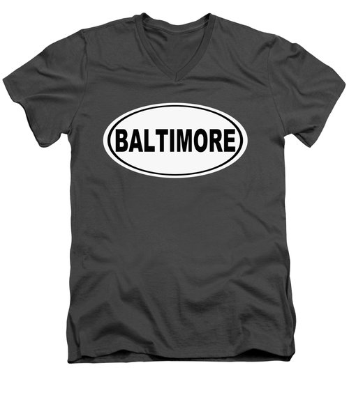 Men's V-Neck T-Shirt featuring the photograph Oval Baltimore Maryland Home Pride by Keith Webber Jr