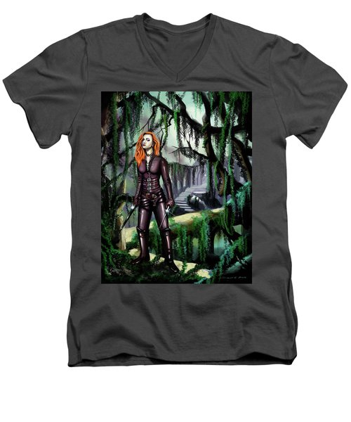 Men's V-Neck T-Shirt featuring the painting Over The Bridge by James Christopher Hill