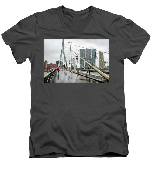 Men's V-Neck T-Shirt featuring the photograph Over The Erasmus Bridge In Rotterdam With Red Umbrella by RicardMN Photography