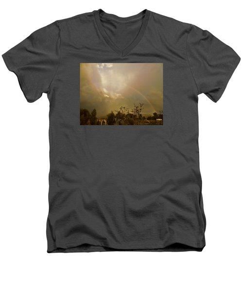 Men's V-Neck T-Shirt featuring the photograph Over The Rainbow Garden by Deborah Moen