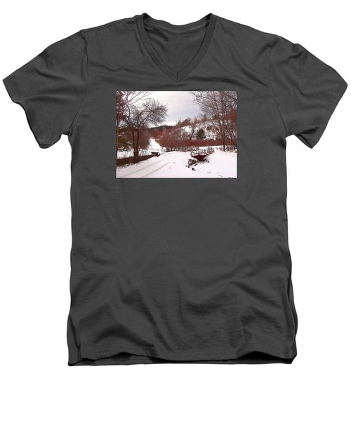 Over The River Men's V-Neck T-Shirt by Betsy Zimmerli