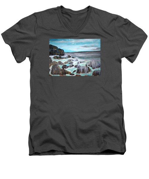 Over The Rocks Men's V-Neck T-Shirt