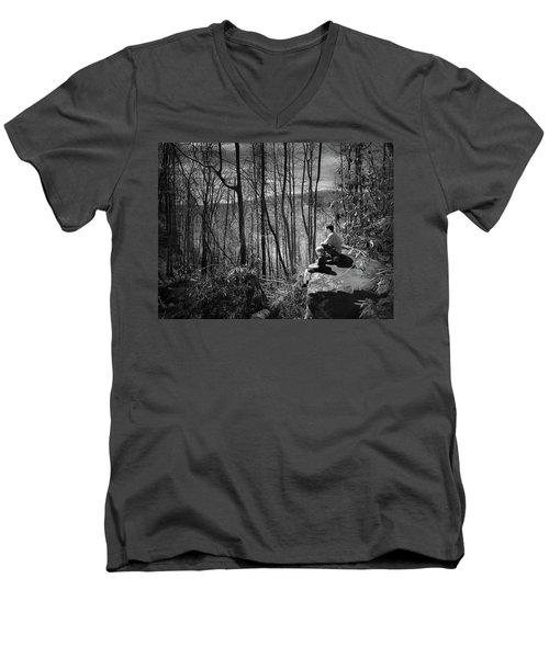 Overlook By Rainbow Falls Men's V-Neck T-Shirt by Kelly Hazel