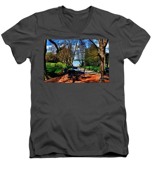 Overlook Cafe Men's V-Neck T-Shirt by Diana Mary Sharpton
