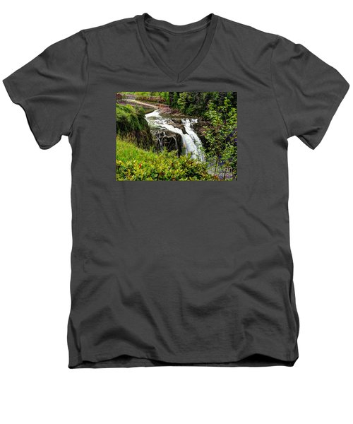 Overlooking Snoqualmie Falls Men's V-Neck T-Shirt by Chris Anderson