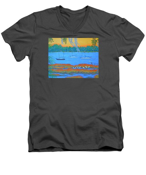 Overnight In Beaufort Men's V-Neck T-Shirt by Dwain Ray