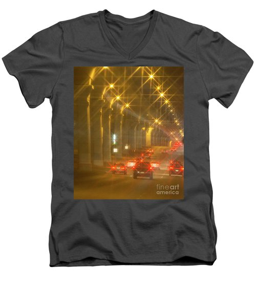Men's V-Neck T-Shirt featuring the photograph Overpass Traffic by Linda Phelps
