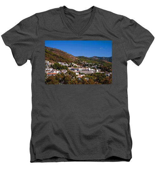 Men's V-Neck T-Shirt featuring the photograph Overview Of Mijas Village by Jenny Rainbow