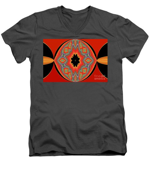 Unique And Colorful Orange Black Yellow Design Men's V-Neck T-Shirt