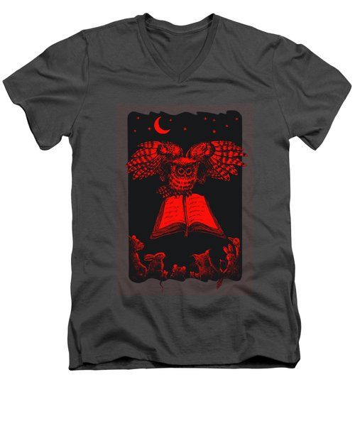 Owl And Friends Redblack Men's V-Neck T-Shirt by Retta Stephenson