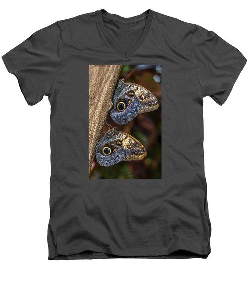 Owl Butterflies Men's V-Neck T-Shirt