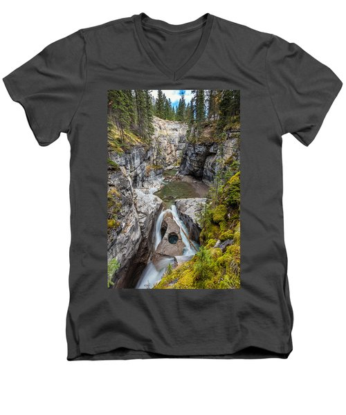 Men's V-Neck T-Shirt featuring the photograph Owl Face Falls Of Maligne Canyon by Pierre Leclerc Photography