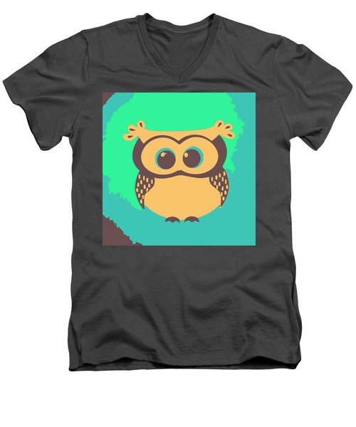 Owl In The Woods Men's V-Neck T-Shirt