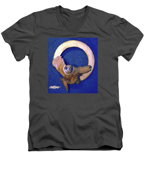 Men's V-Neck T-Shirt featuring the sculpture Owl Moon by Seth Weaver