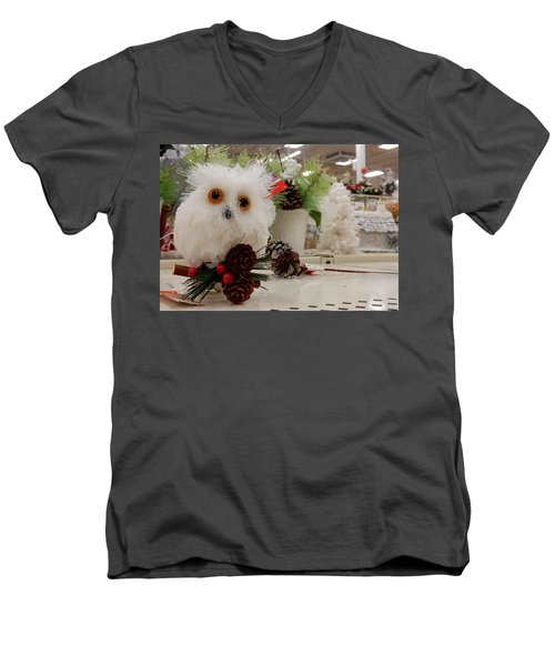 Owl On The Shelf Men's V-Neck T-Shirt by Betty-Anne McDonald