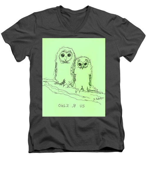 Men's V-Neck T-Shirt featuring the drawing Owlz R Us by Denise Fulmer