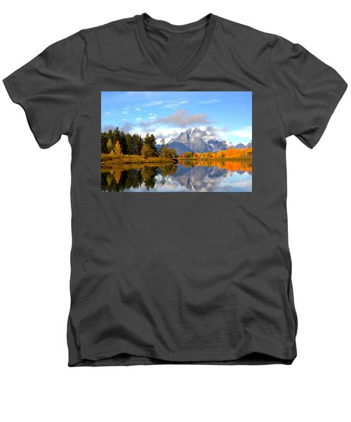 Mt Moran At Oxbow Bend Men's V-Neck T-Shirt