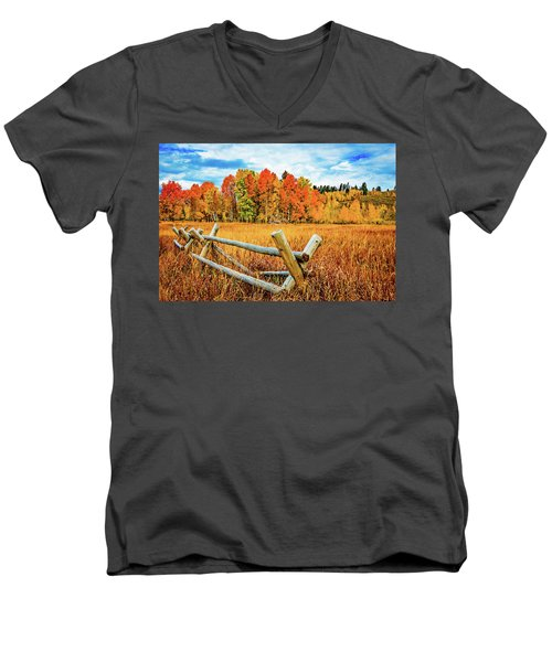 Oxbow Bend Fall Color Men's V-Neck T-Shirt