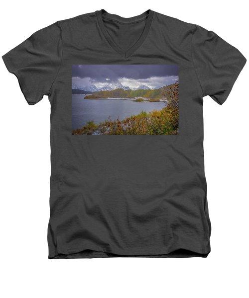 Oxbow Bend Fall Snowfall Men's V-Neck T-Shirt