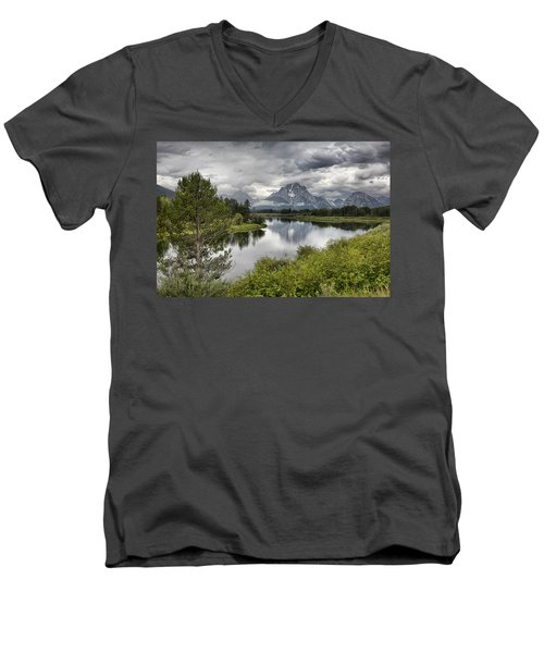 Oxbow Bend Men's V-Neck T-Shirt by Hugh Smith