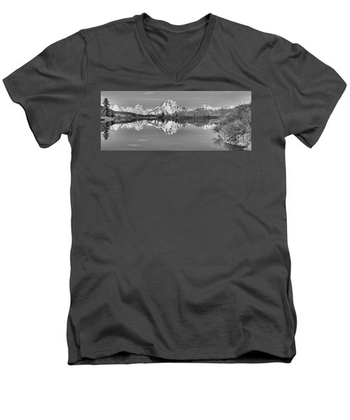 Oxbow Bend Panorama Black And White Men's V-Neck T-Shirt by Adam Jewell